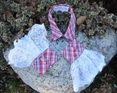 Upcycled Steampunk Clothing, Shirt Collar and Cuffs Red and Blue Plaid Rockabilly - Happy Fourth of July