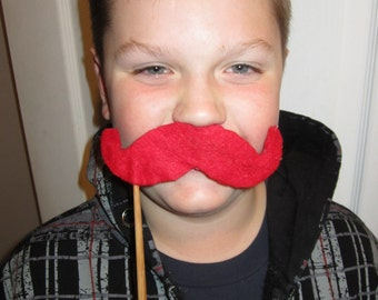 Upcycled Steampunk 5 Quantity Red Felt Handlebar Mustache on a Stick - Movember Movement
