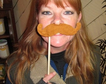 Upcycled Steampunk Felt Handlebar Mustache on a Stick (Ginger Red/Light Brown) - Movember Movement