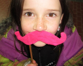 Upcycled Steampunk Felt Handlebar Mustache on a Stick (Hot Pink) - Movember Movement