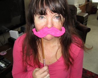 Upcycled Steampunk Felt Mustache on a Stick Handlebar (Hot Pink) - Movember Movement