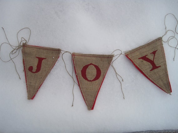 Upcycled JOY Burlap Banner (Red with Red Felt Backing) Rustic Christmas Bunting Eco-Friendly Home Decor