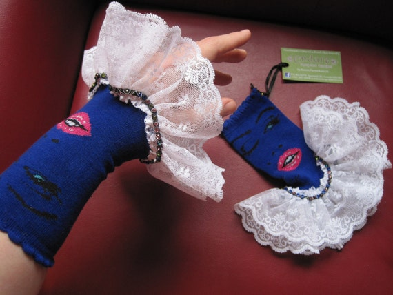Upcycled Steampunk Lips Gauntlets, Circus Costume Accessory, Royal Blue with Hot Pink Lips - White Lace Trim, Valentine's Day