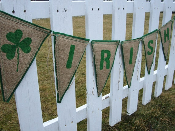 Upcycled Burlap Banner IRISH (Green Painted Letters with Green Felt Backing) Eco-Friendly St. Patrick's Day Decor