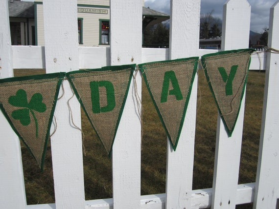 Upcycled Burlap Banner St. Patrick's Day (Green Painted Letters with Green Felt Backing) Eco-Friendly Irish Decor