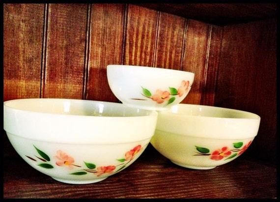 Fire King Peach Blossom Bowls