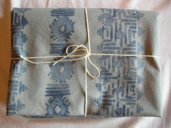 Vintage Hippie Boho blue printed cotton fabric for sewing / sewing supply
