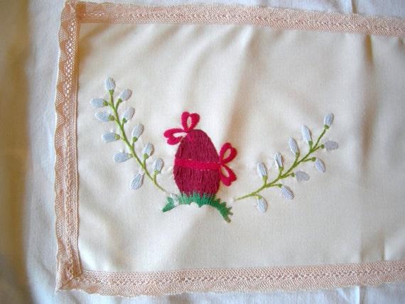 Lovely Rose Egg Vintage Easter Handembroidery  Linen Table runner / Table linen Table topper