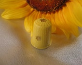 Yellow China Thimble with Gold Flowers - Limoges, France