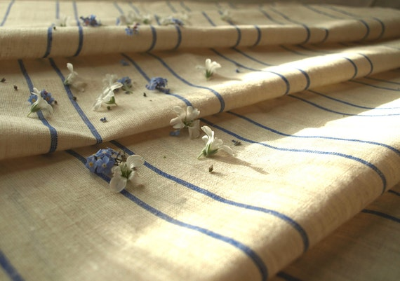 """Linen Runner 23""""x86"""" Natural Ivory With Blue Stripes"""