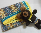 Handmade baby blanket and matching Teddy bear FREE POSTAGE