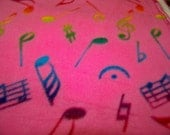 Beanies for Baldies Pink with music notes Fleece Beanie hat