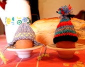Two Stripey Bobble Ski Egg Hats