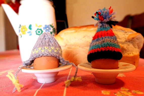 Two Stripey Bobble Ski Egg Hats