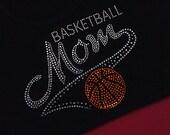 Custom Rhinestone SHORT SLEEVE Basketball Mom team sports ball Sparkly Bling shirt