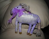 Purple Horse Lucky Mixed Media  Doll Handmade OOAK
