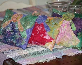 Angels - Pillow Set of 3 Quilted Batik Applique Handmade OOAK