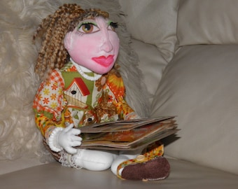 "Handmade OOAK 16"" Doll Sitting Cross-Legged"