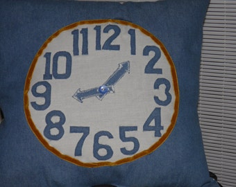 Denim/Fabric Pillow Clock with Moveable Hands Teach/Learn to Tell Time and Travel Route 66 USA Symbols Handmade OOAK