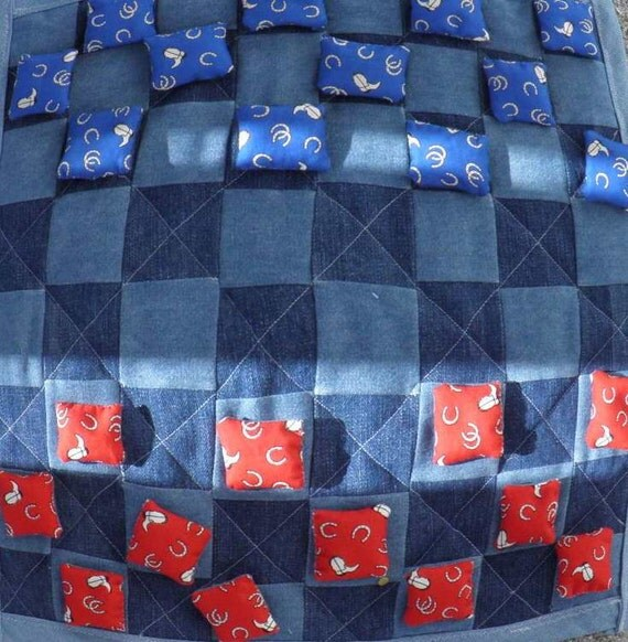Checkers Board Game - Handmade Quilted Denim Checkerboard & Bean Bag Cowboy Theme Pieces Home or School