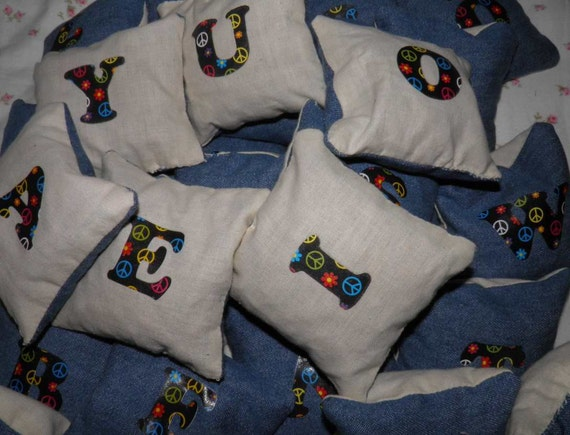 Beanbag Alphabet Spelling/Letter Recognition Game Denim and Muslin for Home or School