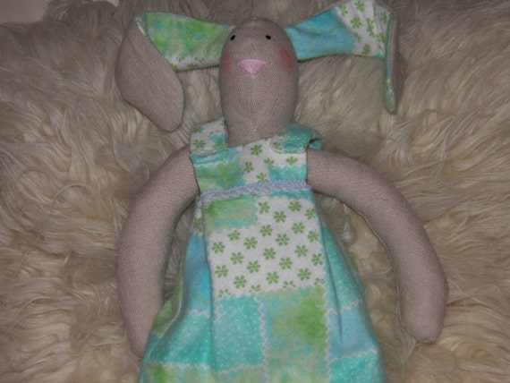 HARE/Bunny Rabbit Linen Doll Blue/Green Soft Outfit One of a Kind Handmade Animal