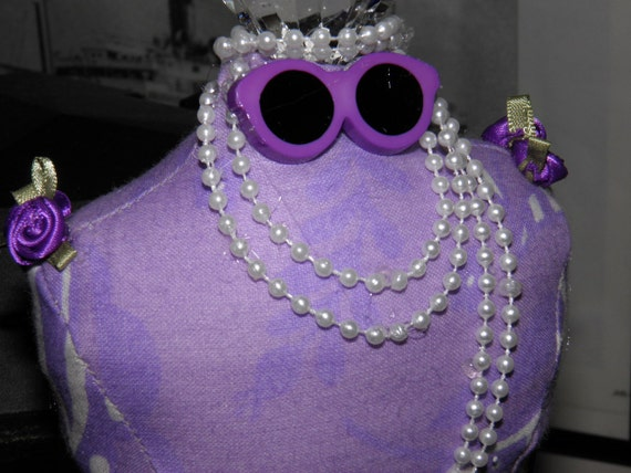 Dressmaker Form Pin Cushion Mannequin Lavender Print Fabric  and Pearls Handmade One of a Kind