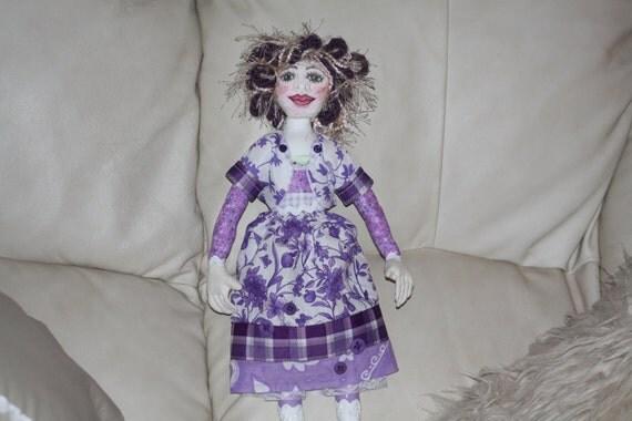 Handmade Cloth/Fabric Art Doll OOAK