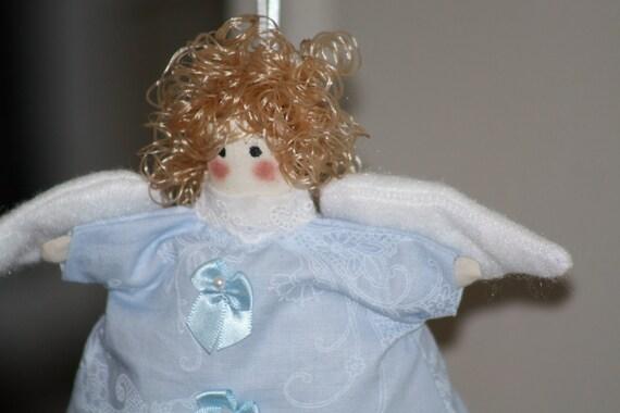March Birthday Cupcake Angel Pale Blue Aquamarine Fabric Doll Ornament Handmade OOAK