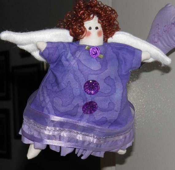 February Birthday Cupcake Angel Purple Amethyst Fabric Doll Ornament Handmade OOAK
