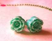 Handmade teal rose earrings