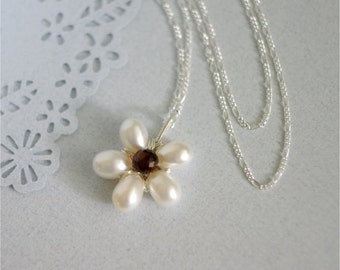 June Birthstone. Pearl Flower Necklace, White Top Drilled Freshwater Pearls, Garnet Onion Briolette, Sterling Silver Chain and Wire. N042