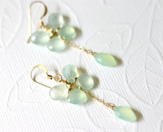Gemstone Butterfly Earrings, Lime Green Chalcedony Faceted Pear, Heart, Marquise Briolettes, Gold-filled Wire Wrapped and Earwire. E068.