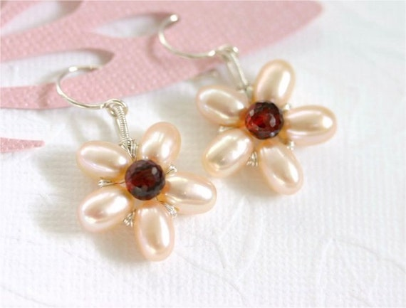 Pearl Flower Earrings, Peach Rice Freshwater Pearls, Garnet Onion Briolettes, Sterling Silver Earwires and Wire Wrapped. Mother's Day. E069.
