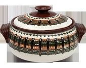 3 qt White Hand Made Pottery Casserole from Bulgaria