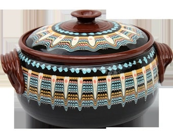 3 qt Black hand made Pottery Casserole from Bulgaria