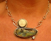 Boulder Opal Sterling Silver Necklace w Carved Bone Face and CZ