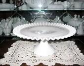 Fenton Hobnail Milkglass Cake Plate