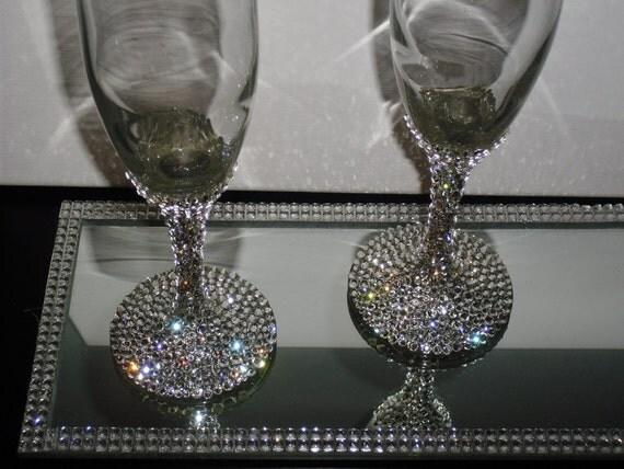 Items Similar To Swarovski Crystal Champagne Glasses On Etsy