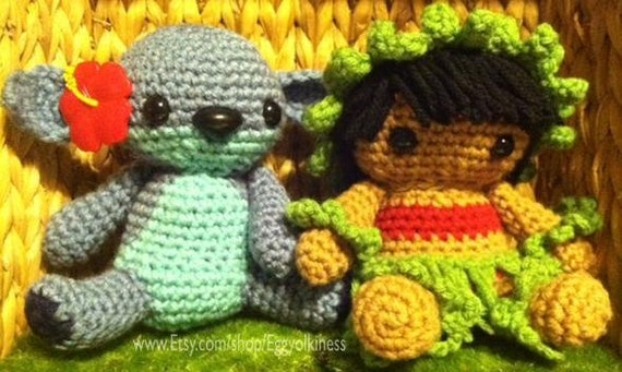Amigurumi Lilo And Stitch : Items similar to Lilo of Lilo and Stitch Crochet Amigurumi ...