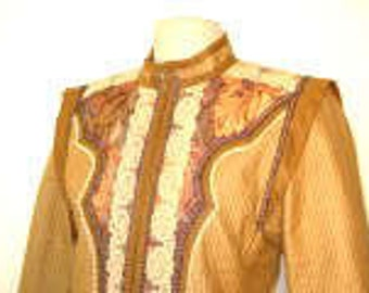 1980's Handmade Quilted/Appliqued Jacket-Size M/L