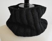 Black Wool Cowl Scarf