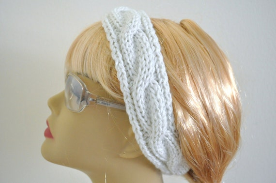 Knitted Headband in White and Silver