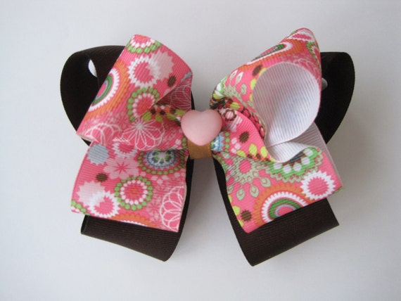 Multicolored Flower Print Stacked Boutique Bow