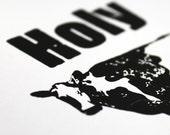 Letterpress Print - HOLY COW - Black