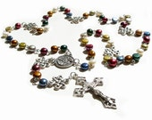 Catholic Rosary Multi Color Pearl & Sterling Silver
