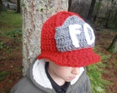 SALE Crochet Fireman's Hat / red, grey, white. Sizes newborn to 10 years old. Firefighters Cap