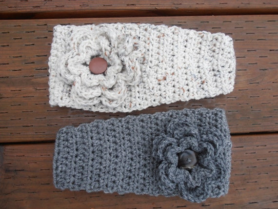 Crochet headband  with triple buttoned flower and button fastener. Chunky  Headband