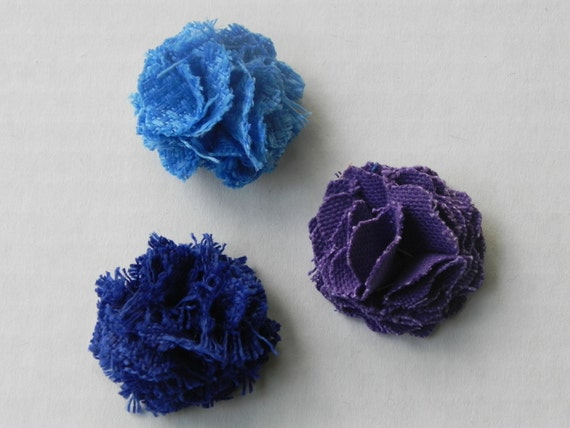 Blue's and Purple set  1inch Fabric Lapel Flower  with button back  Limited Edition