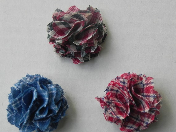 Fabric Lapel Flower  with button back  Limited Edition set of 3  Plaids approx. 1 inch